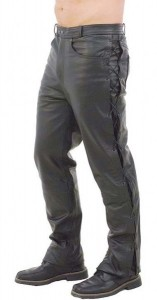 Mens Leather Pants with Side Lacing