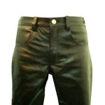 Mens without front knee seams cowhide leather side laces pant jeans