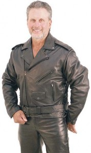 Black Highway Patrol Leather Jacket with Long Back M461Z