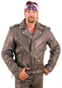 Cobblestone Gray Leather Motorcycle Jacket M12LZGY