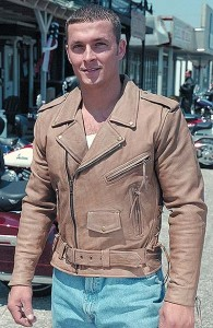 Side Lace Light Brown Leather Motorcycle Jacket M16ZLN