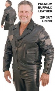 Two Tone Premium Vented Leather Motorcycle Jacket M9079VZTT