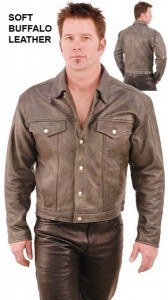 Cobblestone Gray Leather Jacket - Denim Style M321GY
