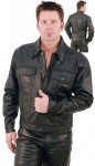 Denim Style Black Leather Jacket  M1411