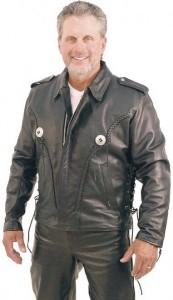 Western Leather Jacket with Conchos and Braid Trim M406B