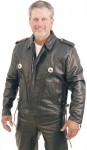 Western Leather Jacket with Conchos and Braid Trim M406B