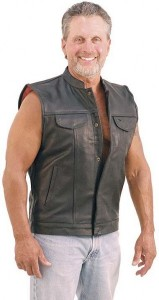Sleeveless Leather Jacket Vest with One Piece Back VM719K
