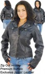 Rounded Collar Womens Motorcycle Jacket with Hoodie L110112K
