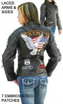Womens Motorcycle Jacket with Patches L1890EAGLE