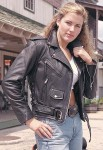 Ladies Leather Motorcycle Jacket with Zip Out Lining L52LZ-06