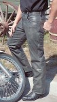 Cobblestone Gray Leather Pants MP753GY