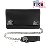 Mens Bi-fold American Bald Eagle Biker Leather Wallet WAC6-M125