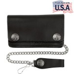 Mens Bi-fold American Buffalo Coin Biker Leather Wallet WAC6-M101