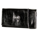 Women's Gem Skull Head Black Envelope Clutch HD1619