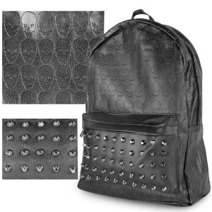 Black Skull and Studded Leather Backpack HD1513BK
