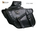 Waterproof Slant Eagle Braided Classic Motorcycle Saddlebags X840