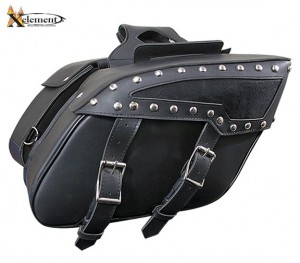 Xelement PVC Zip-Off Chrome Studded Saddlebags X658ZB
