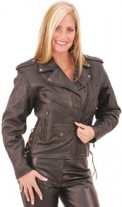 Black Leather Motorcycle Jacket for Women L155LK