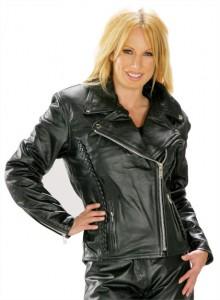 Classic Braided Cruiser Ladies Motorcycle Leather Jacket B8000