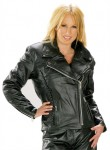 Classic Braided Cruiser Ladies Motorcycle Leather Jacket B8000