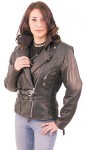 Double Buckle Ladies Vented Leather Motorcycle Jacket L6090Z
