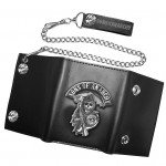 Sons of Anarchy Mens Tri-Fold Chain Leather Wallet