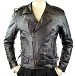 Men's Detour Biker Leather Jacket Retro Brown 8008