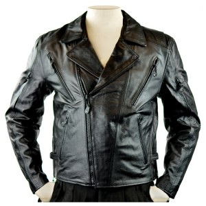 Men's Detour Vented Leather Motorcycle Jacket with CE Armor 8009