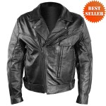 Men's Detour Vented Leather Motorcycle Jacket with CE Armor 8006