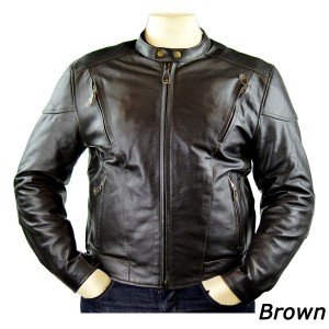 Men's Detour Vented Leather Motorcycle Jacket with CE Armor 8007