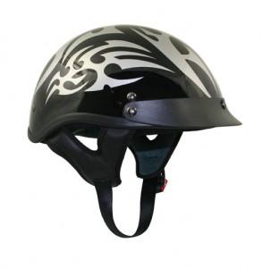 Black Outlaw X195 Silver Tribal Half Helmet