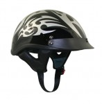 Black Outlaw X195 Silver Tribal Half Helmet