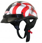DOT Black 3D American Flag Half Helmet