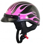 DOT Black Outlaw T69 Pink Flames Half Helmet