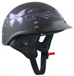 DOT Butterfly X181 Flat Black Purple Butterfly Women's Helmet