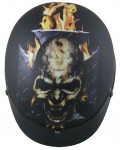 DOT Flat Black Flame Laughing Skull Helmet
