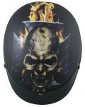 DOT Flat Black Flame Laughing Skull Helmet
