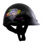 DOT Outlaw Gloss Black with Floating Feather Half Helmet
