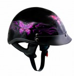 DOT Outlaw Gloss Black with Pink/Purple Butterflies Half Helmet