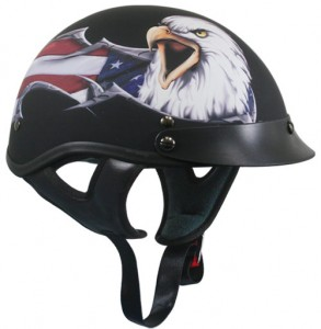 DOT Outlaw X-177 Flat Black with American Eagle Half Helmets