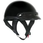 DOT T69 Solid Glossy Black Half Helmet