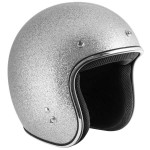 Outlaw Retro-5011 Silver Mega Flake Open Face Helmet