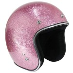 Outlaw Retro-5022 Pink Mega Flake Open Face Helmet