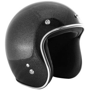 Outlaw Retro-5066 Black Mega Flake Open Face Helmet with HI-FI Speakers