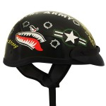 Outlaw T-70 Black Glossy Motorcycle Half Helmet with Officially Licensed U.S. Army Graphics
