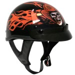 Outlaw T-70 Glossy Motorcycle Half Helmet with Fire Department Graphics