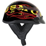 Outlaw T-70 Glossy Motorcycle Half Helmet with Officially Licensed U.S. Marines Graphics