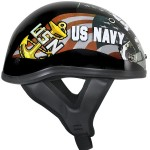 Outlaw T-70 Glossy Motorcycle Half Helmet with Officially Licensed U.S. Navy Graphics