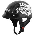Outlaw T-70 Skull Glossy Motorcycle Half Helmet