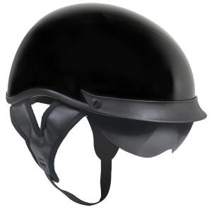 Outlaw T-72 Black Glossy Dual-Visor Motorcycle Half Helmet